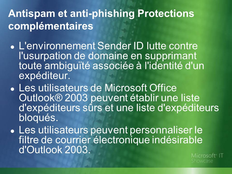 Antispam et anti-phishing Protections complémentaires