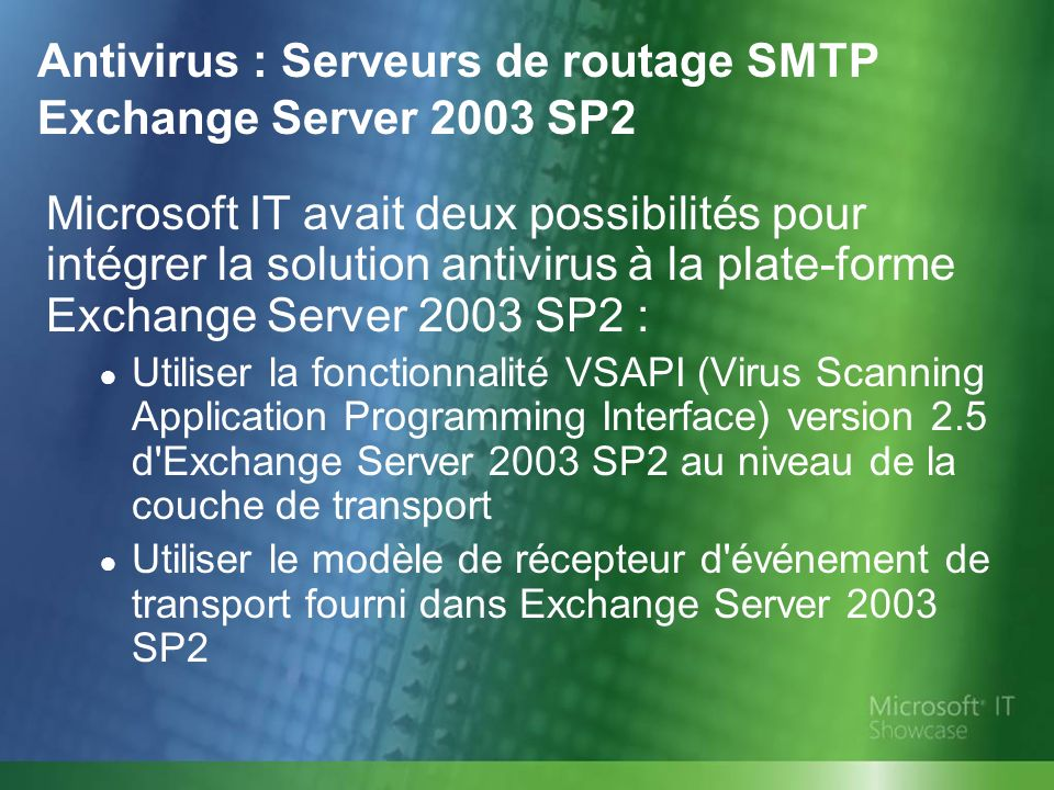 Antivirus : Serveurs de routage SMTP Exchange Server 2003 SP2