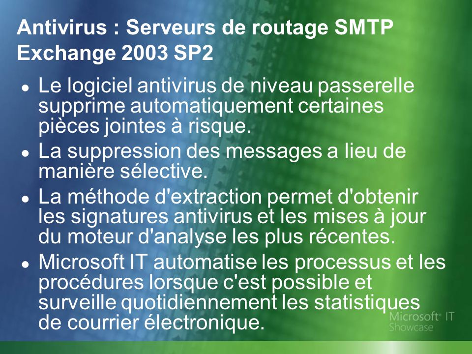 Antivirus : Serveurs de routage SMTP Exchange 2003 SP2