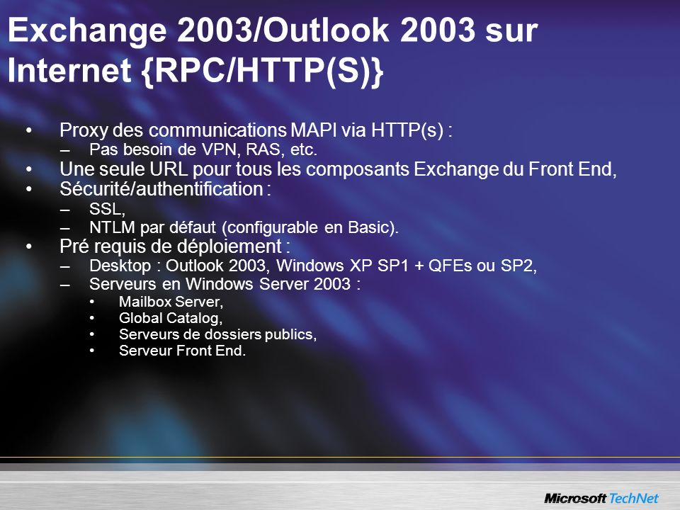 Exchange 2003/Outlook 2003 sur Internet {RPC/HTTP(S)}