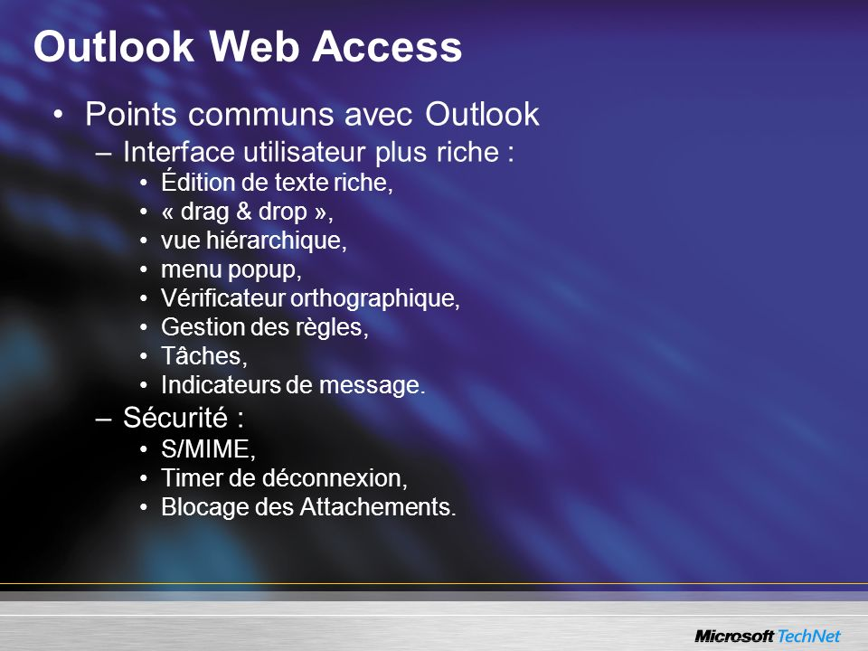 Outlook Web Access Points communs avec Outlook