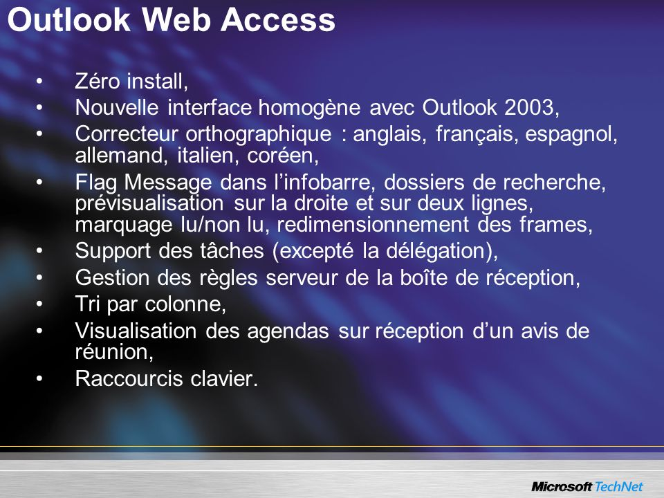 Outlook Web Access Zéro install,