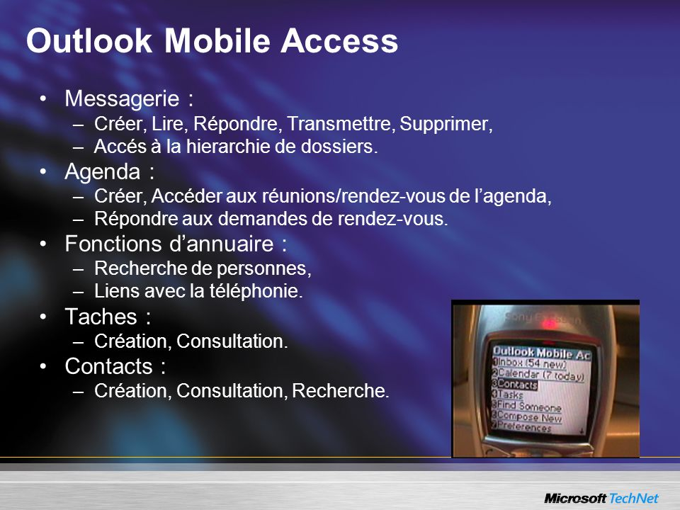 Outlook Mobile Access Messagerie : Agenda : Fonctions d'annuaire :