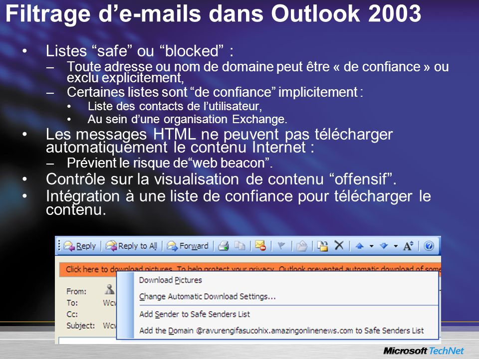 Filtrage d' s dans Outlook 2003