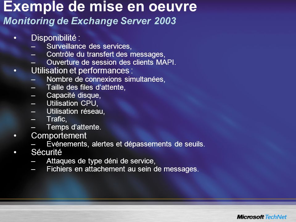 Exemple de mise en oeuvre Monitoring de Exchange Server 2003