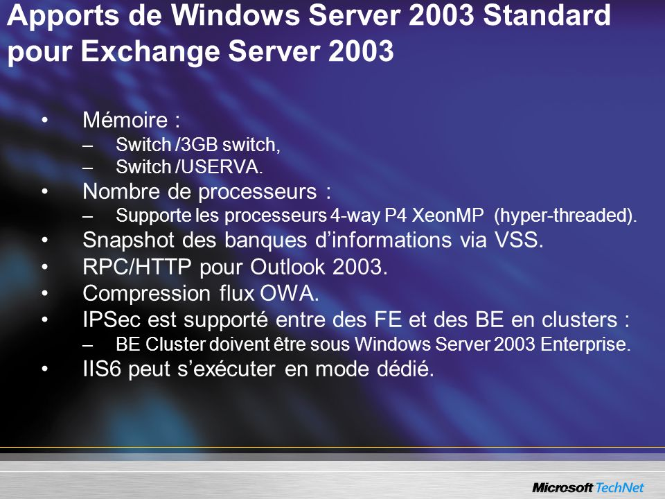 Apports de Windows Server 2003 Standard pour Exchange Server 2003