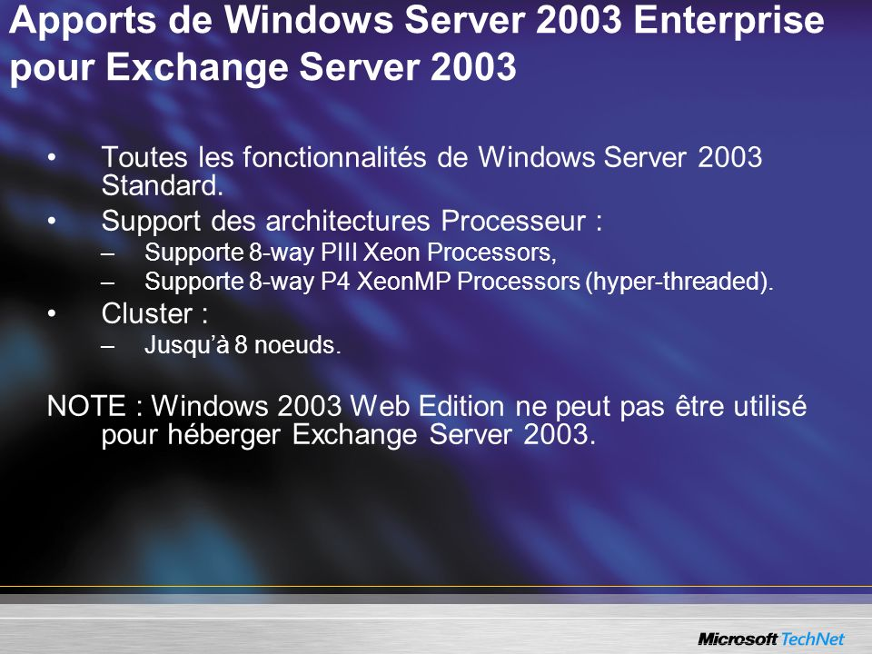 Apports de Windows Server 2003 Enterprise pour Exchange Server 2003
