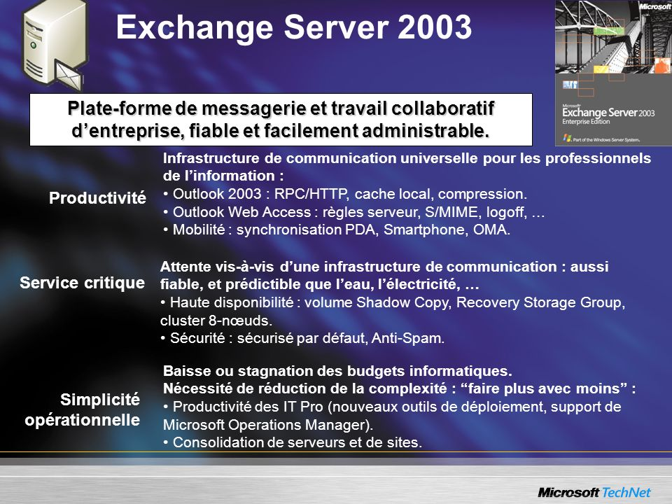 Exchange Server 2003 Plate-forme de messagerie et travail collaboratif d'entreprise, fiable et facilement administrable.