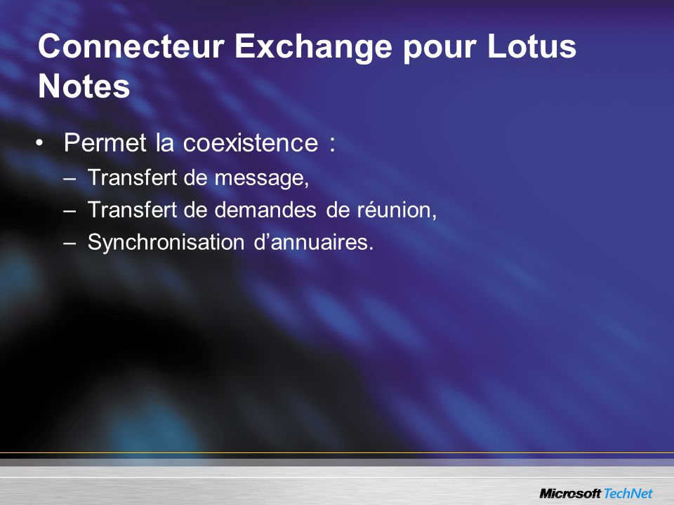 Connecteur Exchange pour Lotus Notes