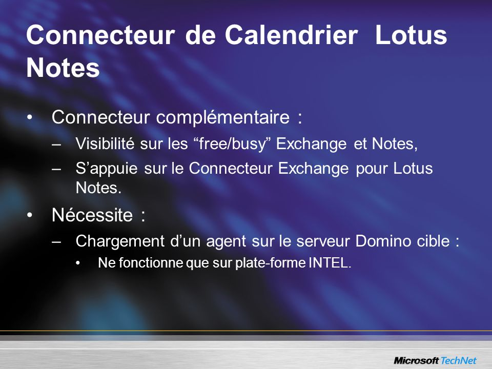 Connecteur de Calendrier Lotus Notes