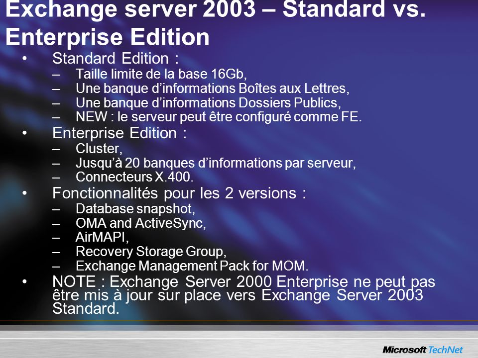 Exchange server 2003 – Standard vs. Enterprise Edition