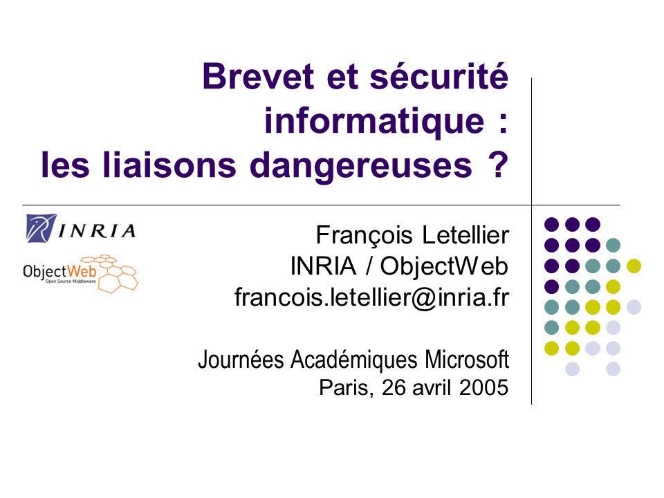Brevet et sécurité informatique : les liaisons dangereuses