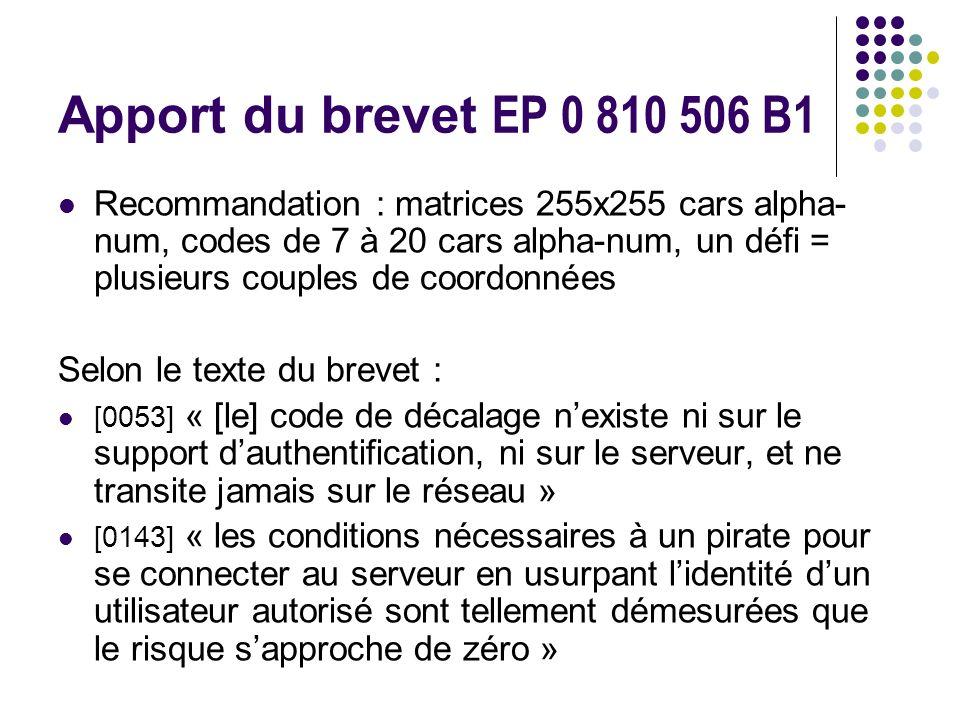 Apport du brevet EP 0 810 506 B1