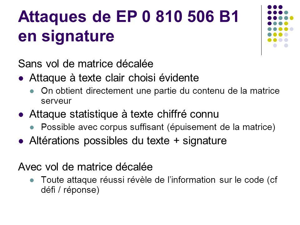 Attaques de EP 0 810 506 B1 en signature