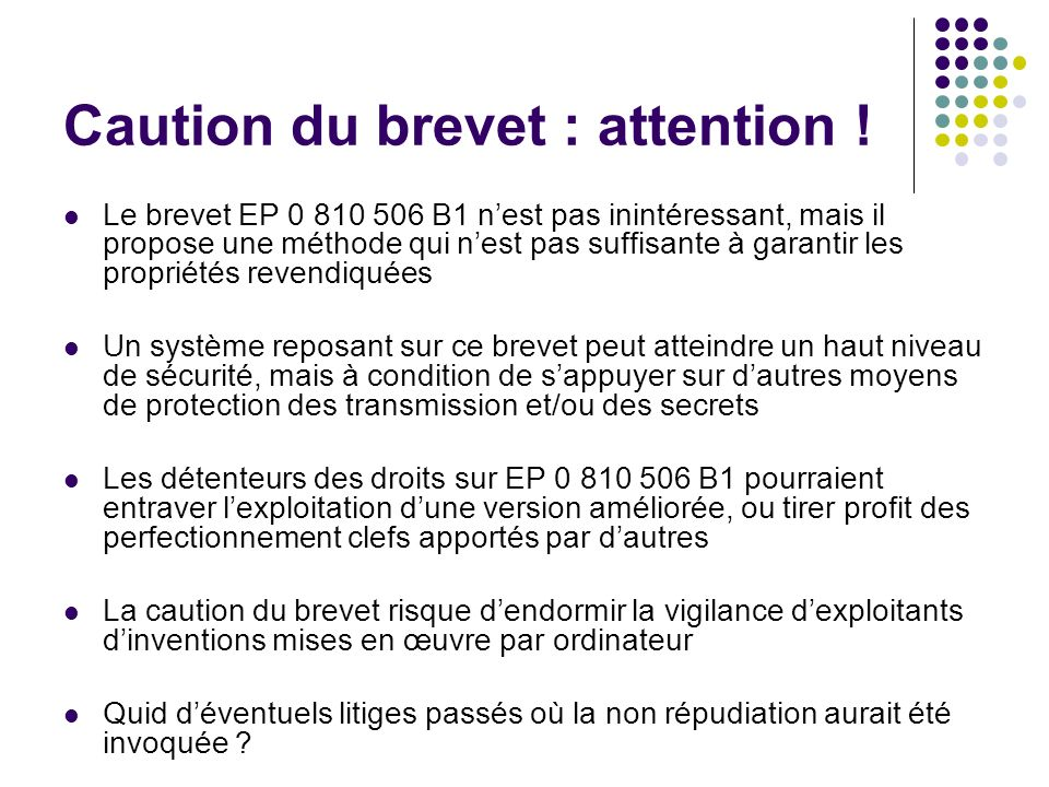 Caution du brevet : attention !