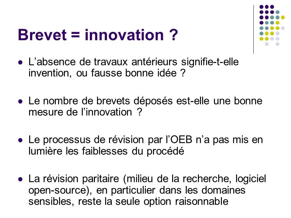 Brevet = innovation L'absence de travaux antérieurs signifie-t-elle invention, ou fausse bonne idée