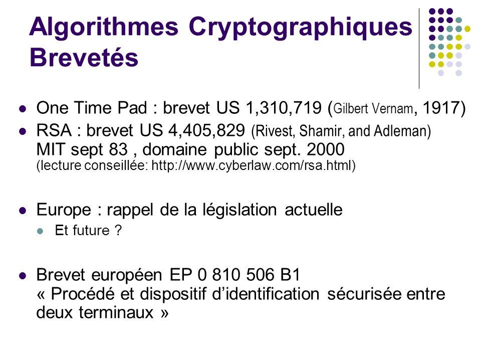 Algorithmes Cryptographiques Brevetés