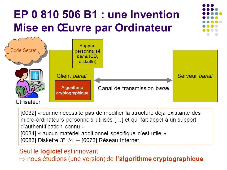 EP 0 810 506 B1 : une Invention Mise en Œuvre par Ordinateur