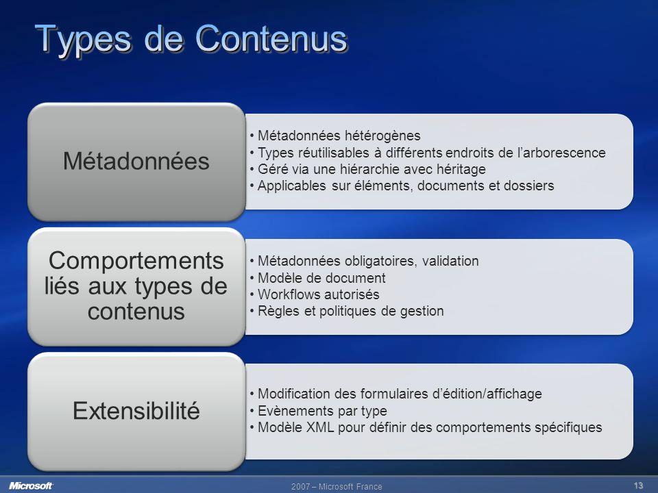 Comportements liés aux types de contenus