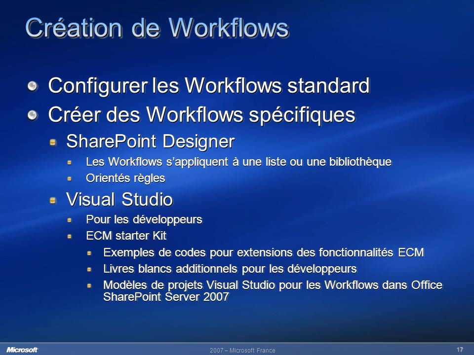 Création de Workflows Configurer les Workflows standard