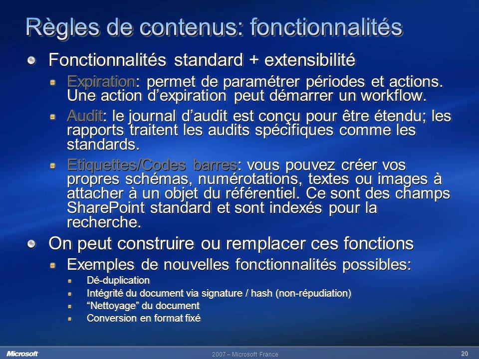 Règles de contenus: fonctionnalités