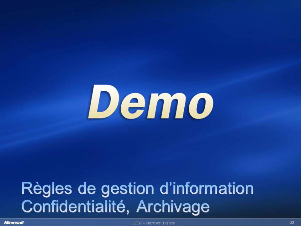 Règles de gestion d'information Confidentialité, Archivage