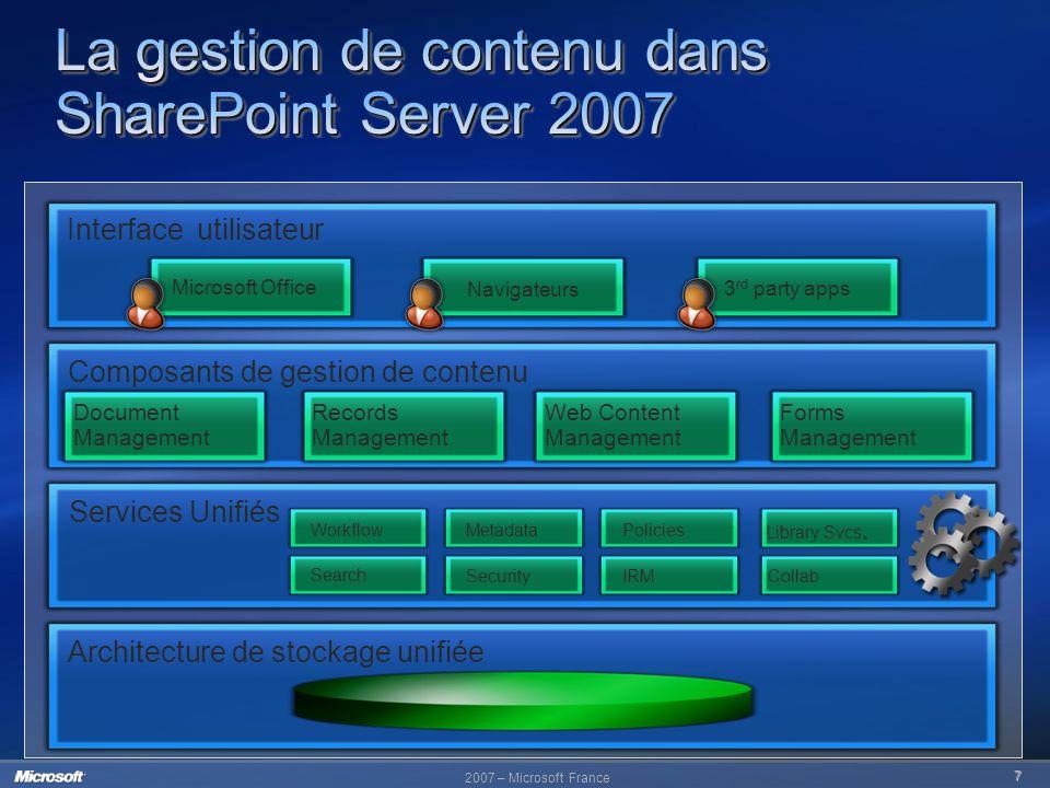 La gestion de contenu dans SharePoint Server 2007