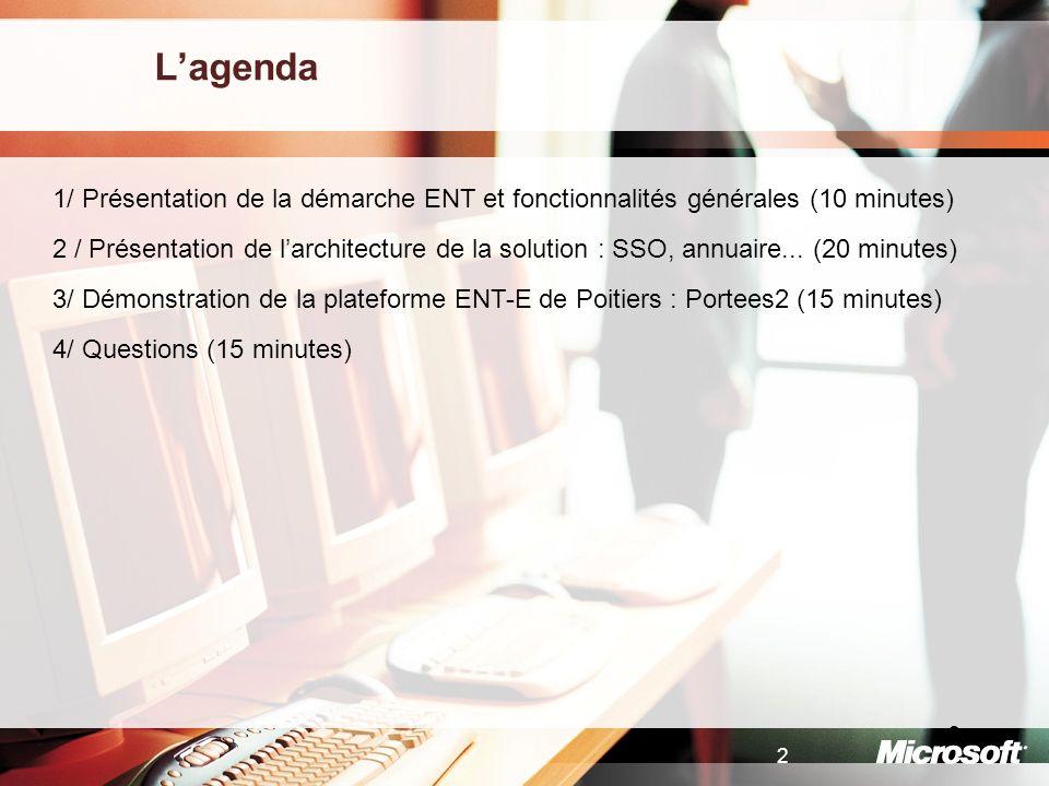 L'agenda 1/ Présentation de la démarche ENT et fonctionnalités générales (10 minutes)