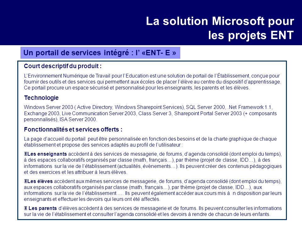 La solution Microsoft pour les projets ENT