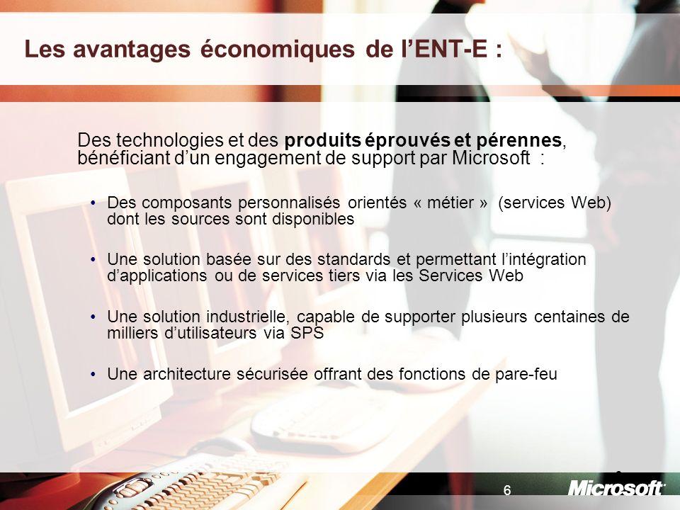 Les avantages économiques de l'ENT-E :