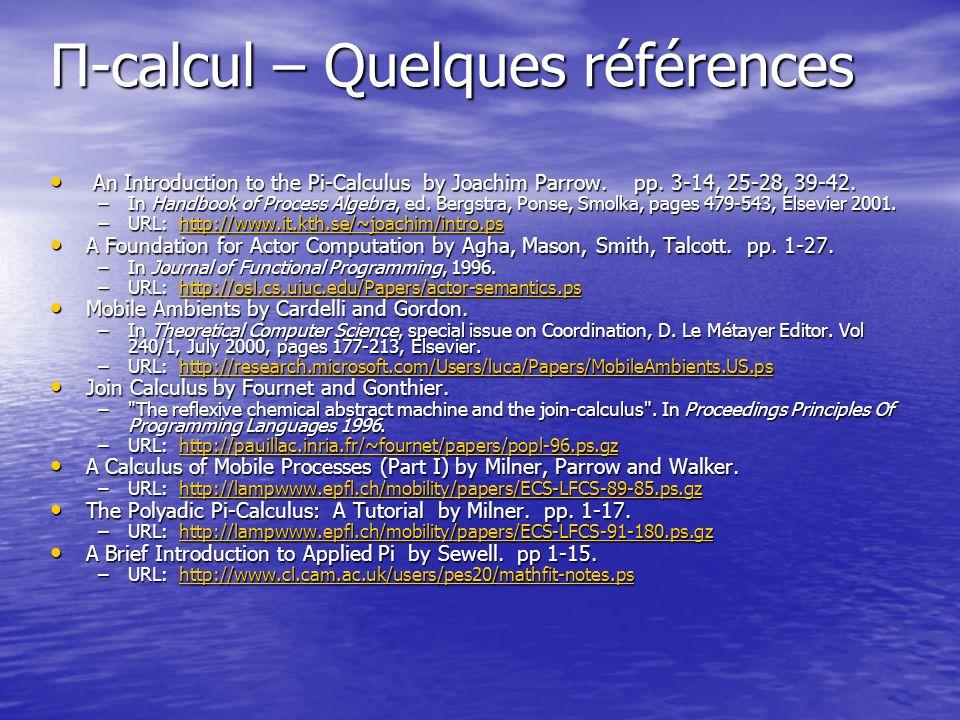 Π-calcul – Quelques références