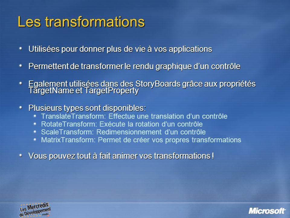 Les transformations Utilisées pour donner plus de vie à vos applications. Permettent de transformer le rendu graphique d'un contrôle.