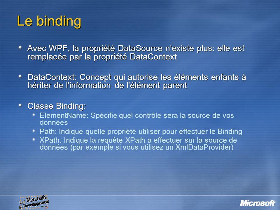 Le binding Avec WPF, la propriété DataSource n'existe plus: elle est remplacée par la propriété DataContext.