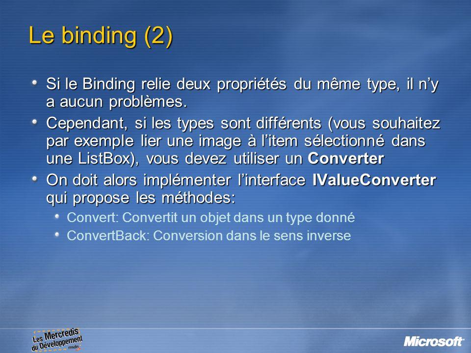 Le binding (2) Si le Binding relie deux propriétés du même type, il n'y a aucun problèmes.