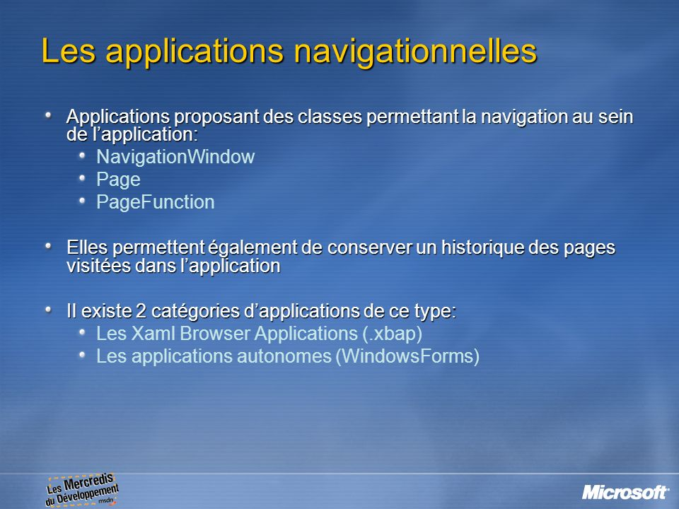 Les applications navigationnelles