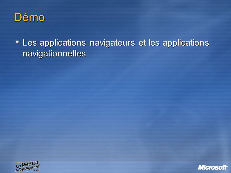 Démo Les applications navigateurs et les applications navigationnelles