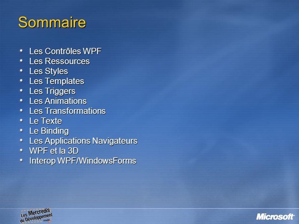 Sommaire Les Contrôles WPF Les Ressources Les Styles Les Templates