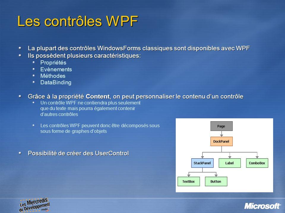 Les contrôles WPF La plupart des contrôles WindowsForms classiques sont disponibles avec WPF. Ils possèdent plusieurs caractéristiques: