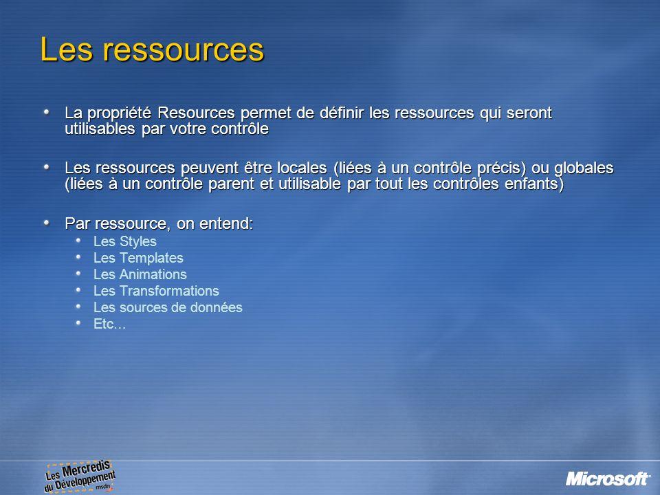 Les ressources La propriété Resources permet de définir les ressources qui seront utilisables par votre contrôle.