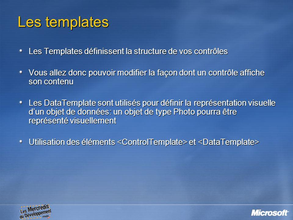 Les templates Les Templates définissent la structure de vos contrôles