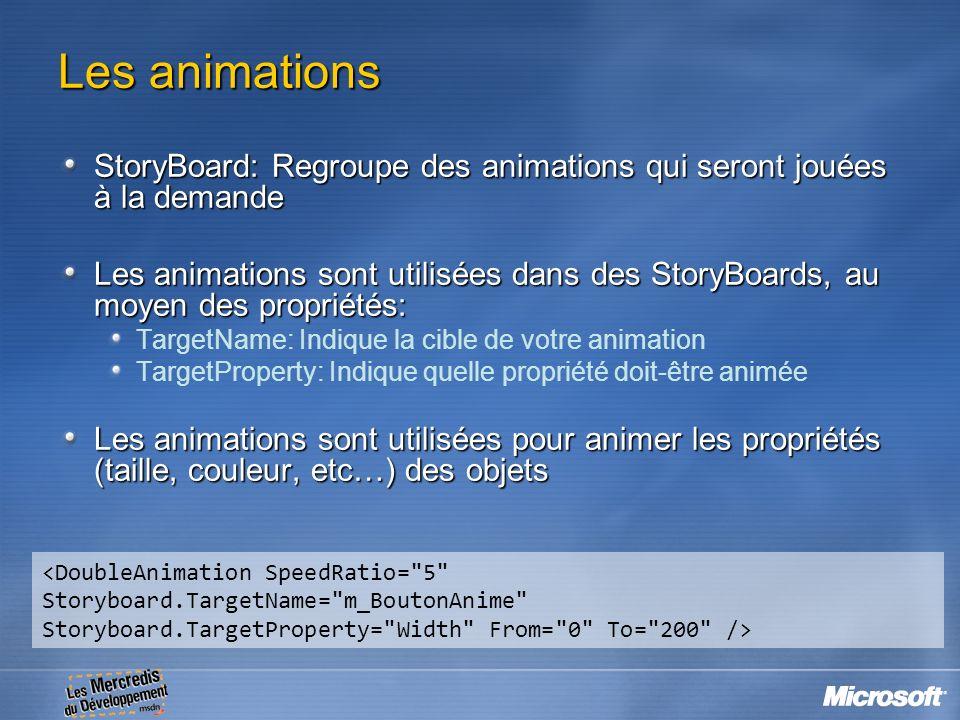 Les animations StoryBoard: Regroupe des animations qui seront jouées à la demande.
