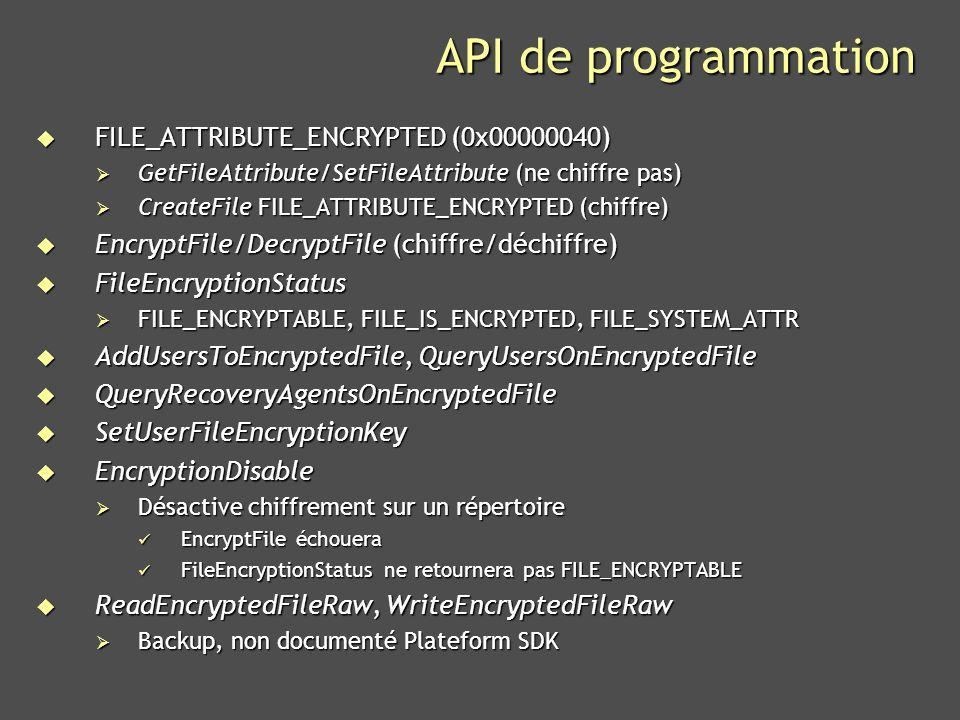 API de programmation FILE_ATTRIBUTE_ENCRYPTED (0x00000040)
