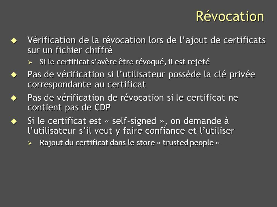Révocation Vérification de la révocation lors de l'ajout de certificats sur un fichier chiffré. Si le certificat s'avère être révoqué, il est rejeté.