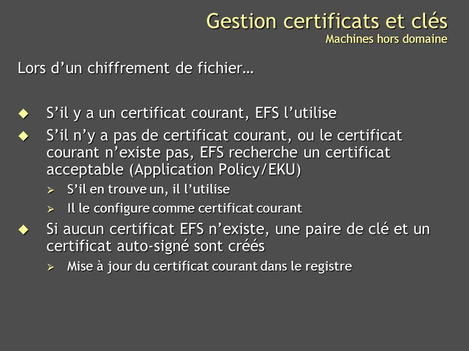 Gestion certificats et clés Machines hors domaine