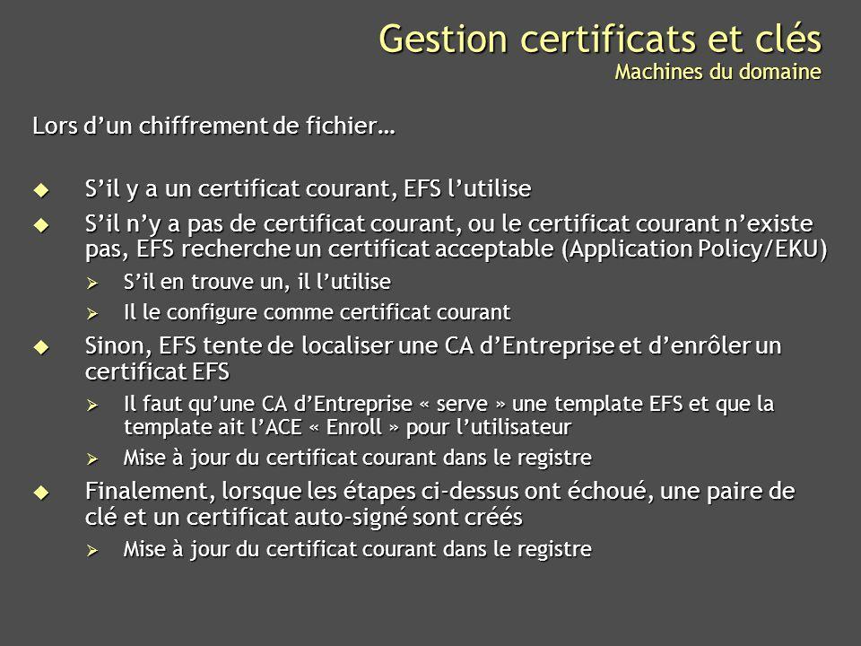 Gestion certificats et clés Machines du domaine