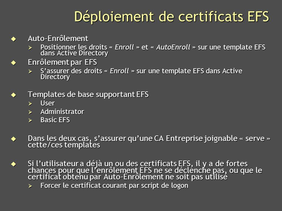 Déploiement de certificats EFS