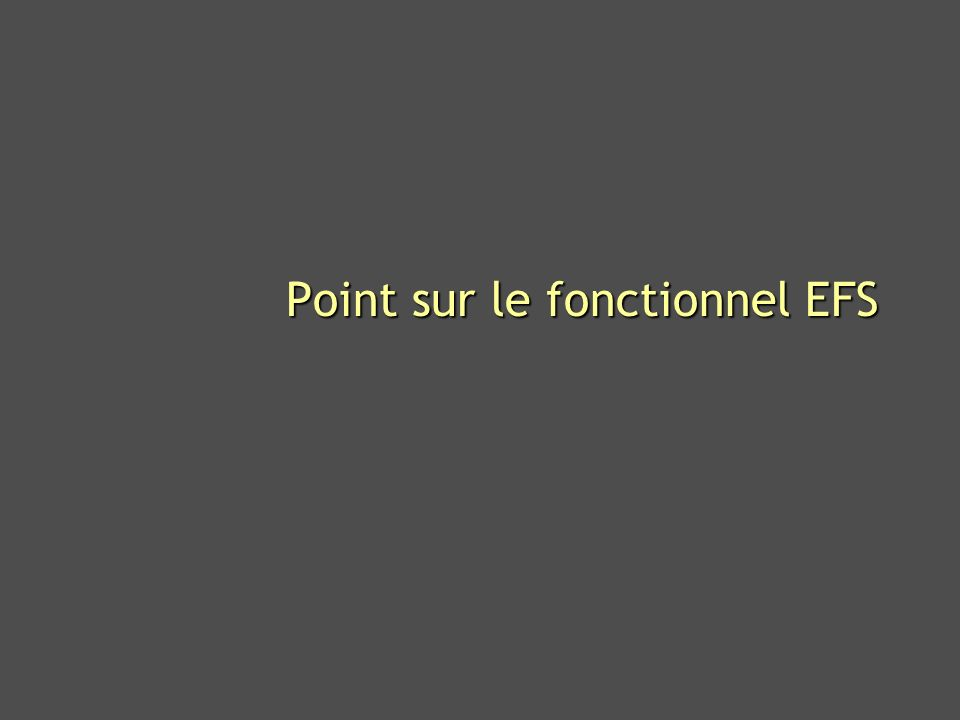 Point sur le fonctionnel EFS