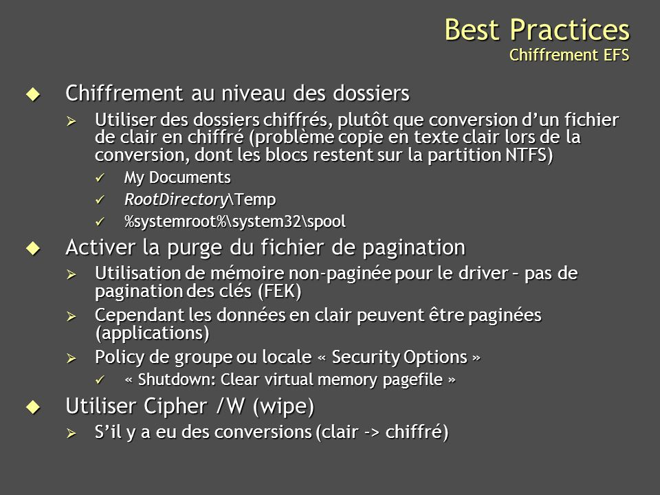 Best Practices Chiffrement EFS