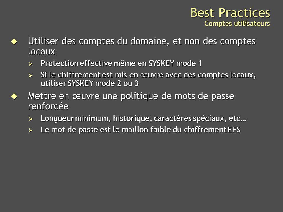 Best Practices Comptes utilisateurs