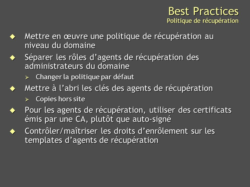 Best Practices Politique de récupération